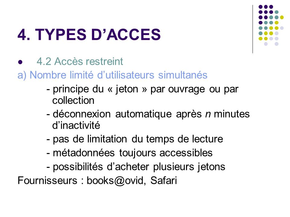 4. TYPES D'ACCES 4.2 Accès restreint