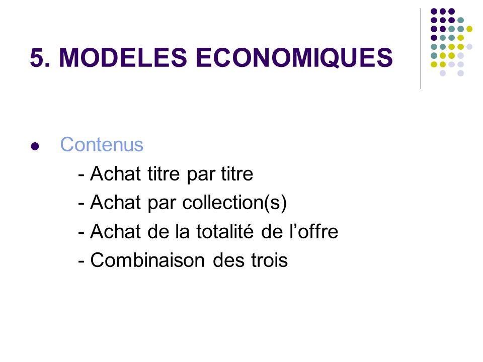 5. MODELES ECONOMIQUES Contenus - Achat titre par titre