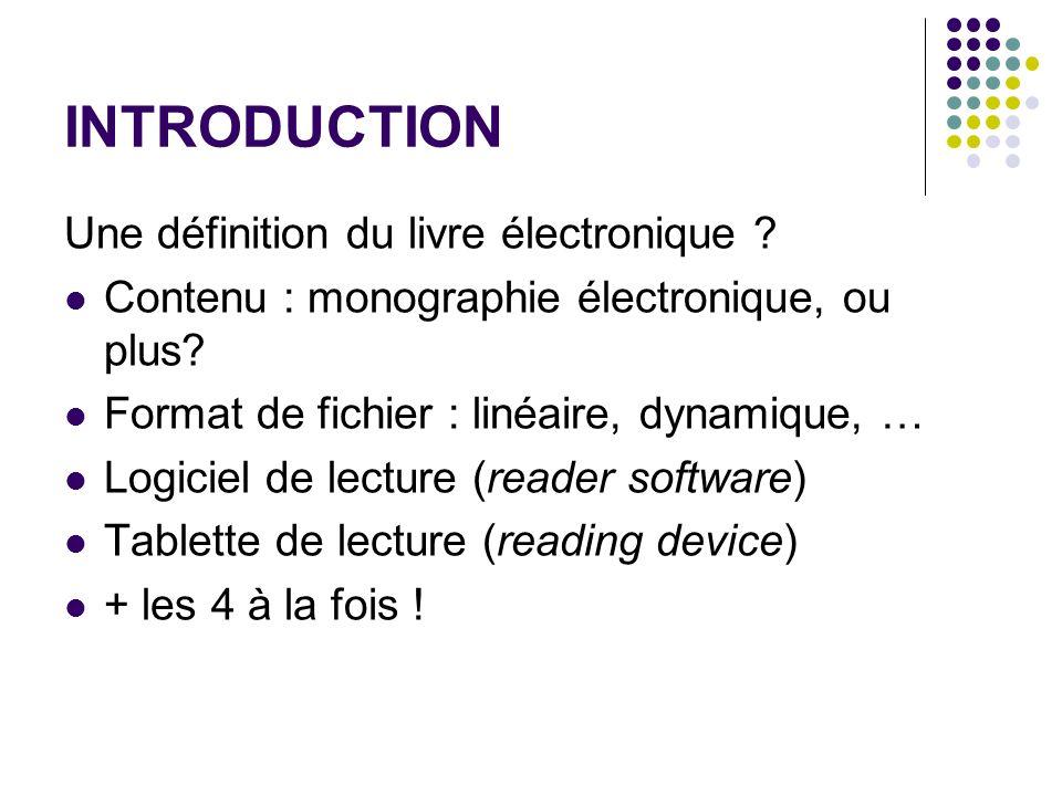 INTRODUCTION Une définition du livre électronique