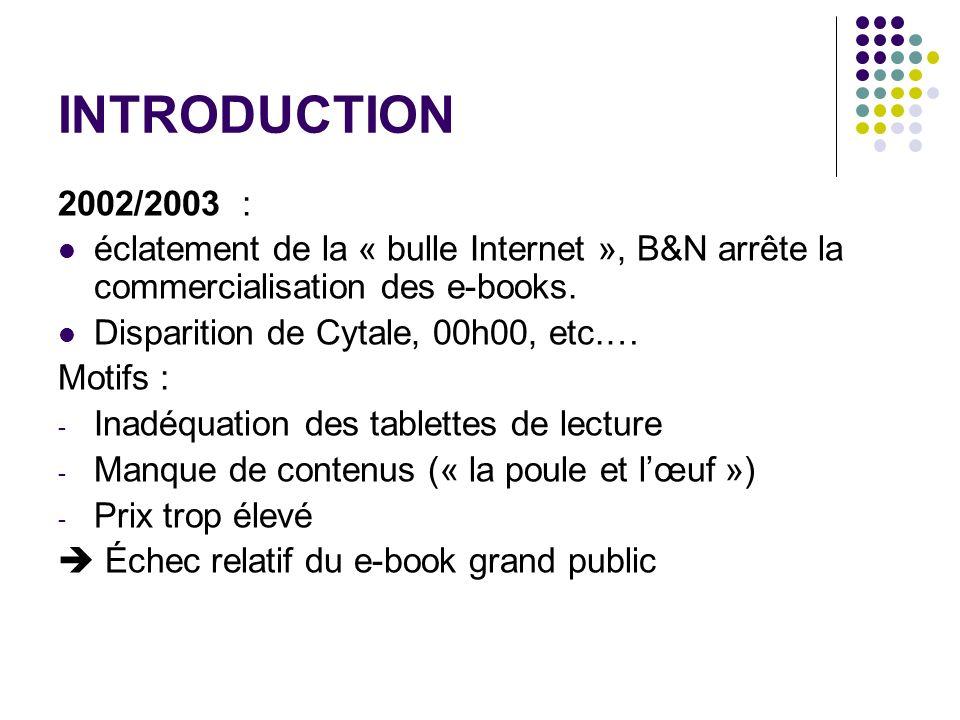 INTRODUCTION2002/2003 : éclatement de la « bulle Internet », B&N arrête la commercialisation des e-books.