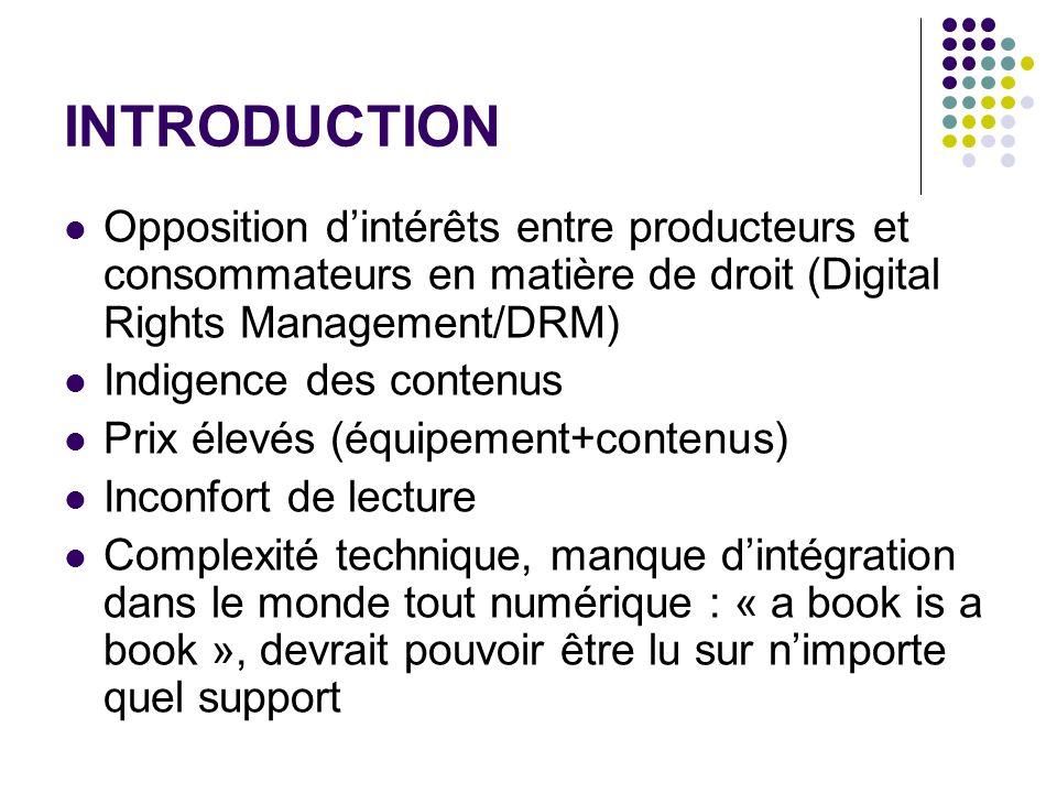 INTRODUCTIONOpposition d'intérêts entre producteurs et consommateurs en matière de droit (Digital Rights Management/DRM)
