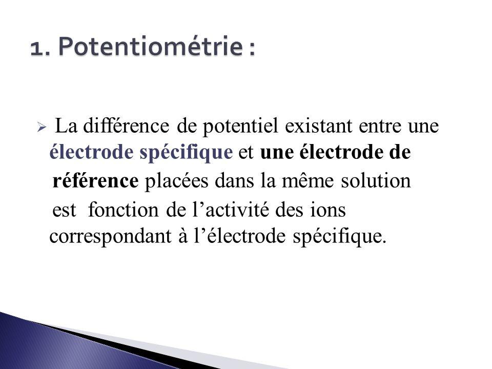 1. Potentiométrie : La différence de potentiel existant entre une électrode spécifique et une électrode de.