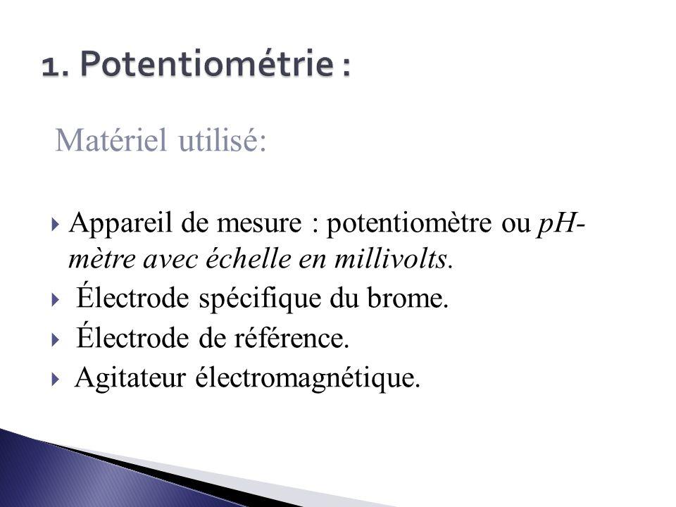 1. Potentiométrie : Matériel utilisé: Appareil de mesure : potentiomètre ou pH- mètre avec échelle en millivolts.