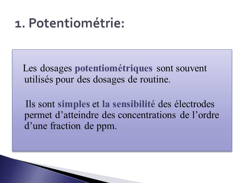 1. Potentiométrie: Les dosages potentiométriques sont souvent utilisés pour des dosages de routine.