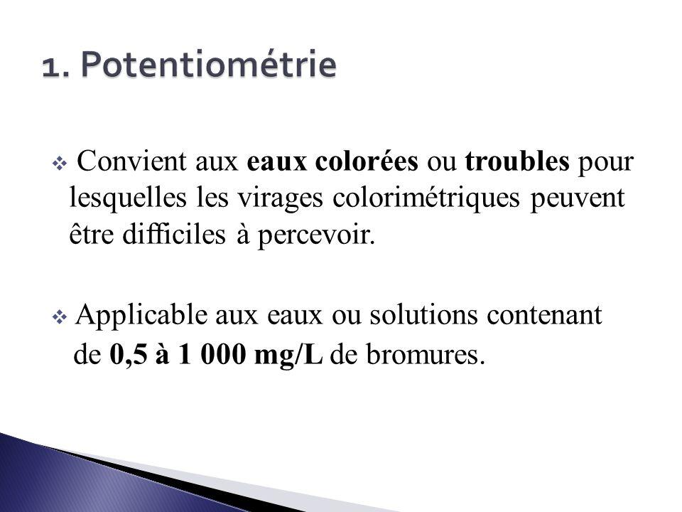 1. Potentiométrie Convient aux eaux colorées ou troubles pour lesquelles les virages colorimétriques peuvent être difficiles à percevoir.