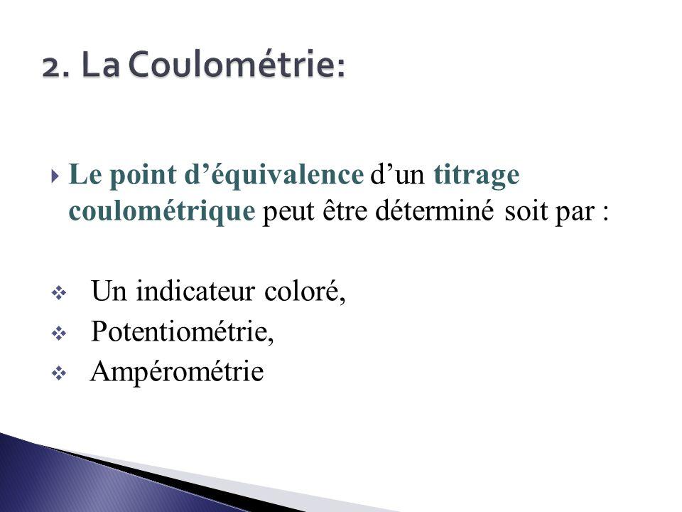 2. La Coulométrie: Le point d'équivalence d'un titrage coulométrique peut être déterminé soit par :