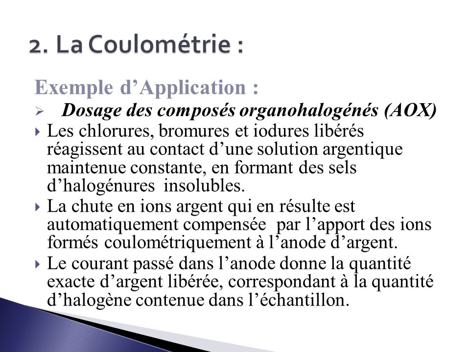 2. La Coulométrie : Exemple d'Application :