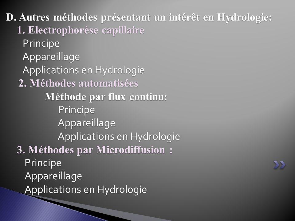 D. Autres méthodes présentant un intérêt en Hydrologie: 1