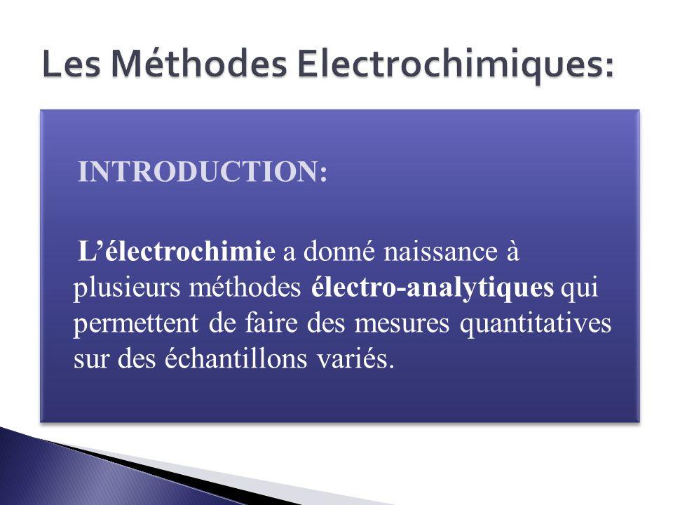 Les Méthodes Electrochimiques: