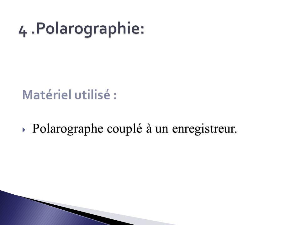 4 .Polarographie: Matériel utilisé :