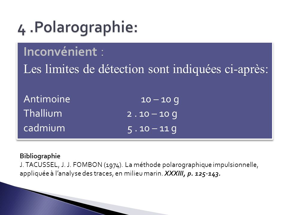 4 .Polarographie: Inconvénient :