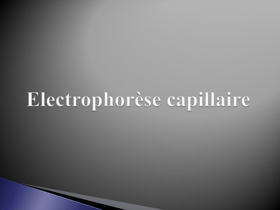Electrophorèse capillaire
