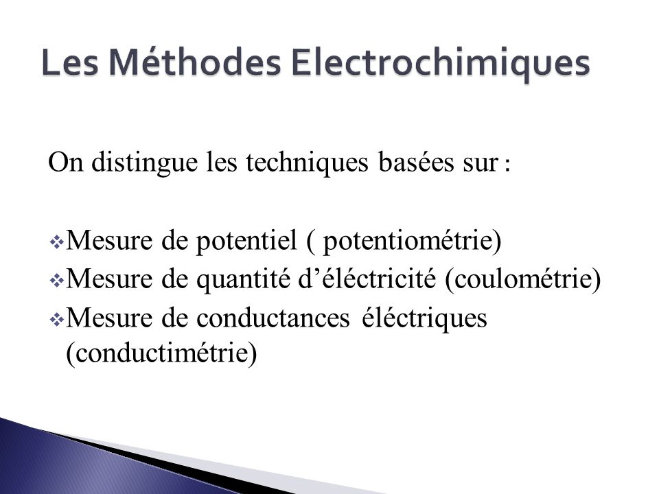 Les Méthodes Electrochimiques
