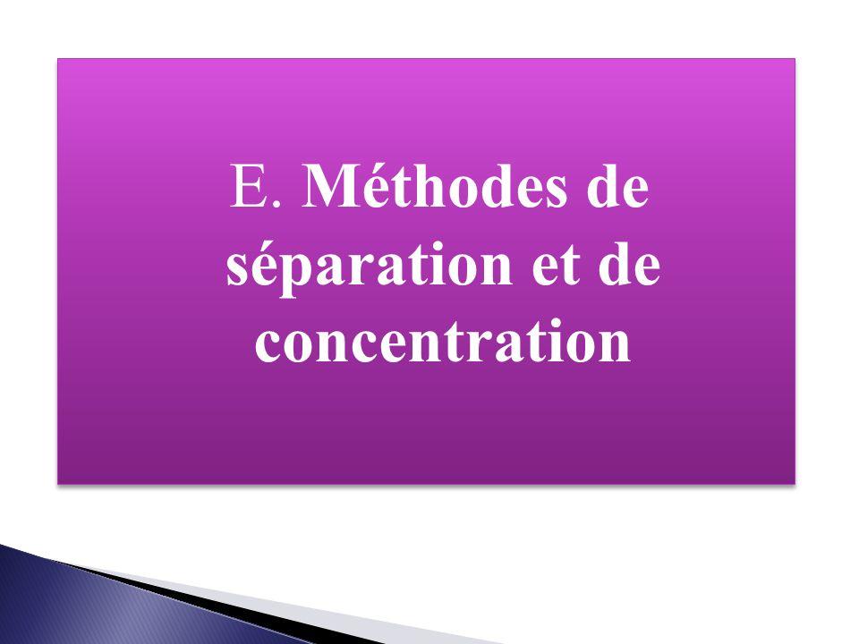 E. Méthodes de séparation et de concentration