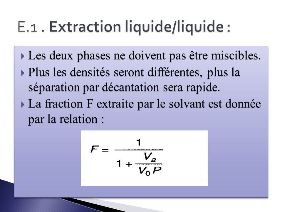 E.1 . Extraction liquide/liquide :