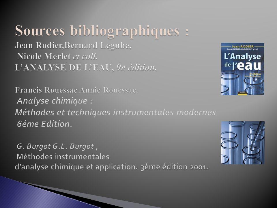 Sources bibliographiques : Jean Rodier,Bernard Legube, Nicole Merlet et coll.
