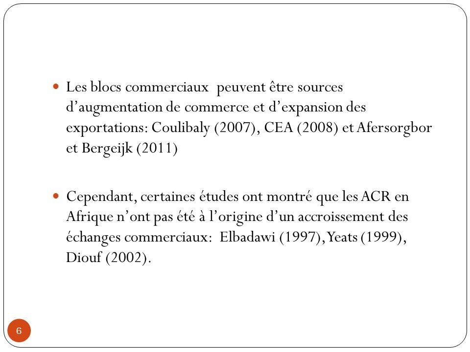 Les blocs commerciaux peuvent être sources d'augmentation de commerce et d'expansion des exportations: Coulibaly (2007), CEA (2008) et Afersorgbor et Bergeijk (2011)