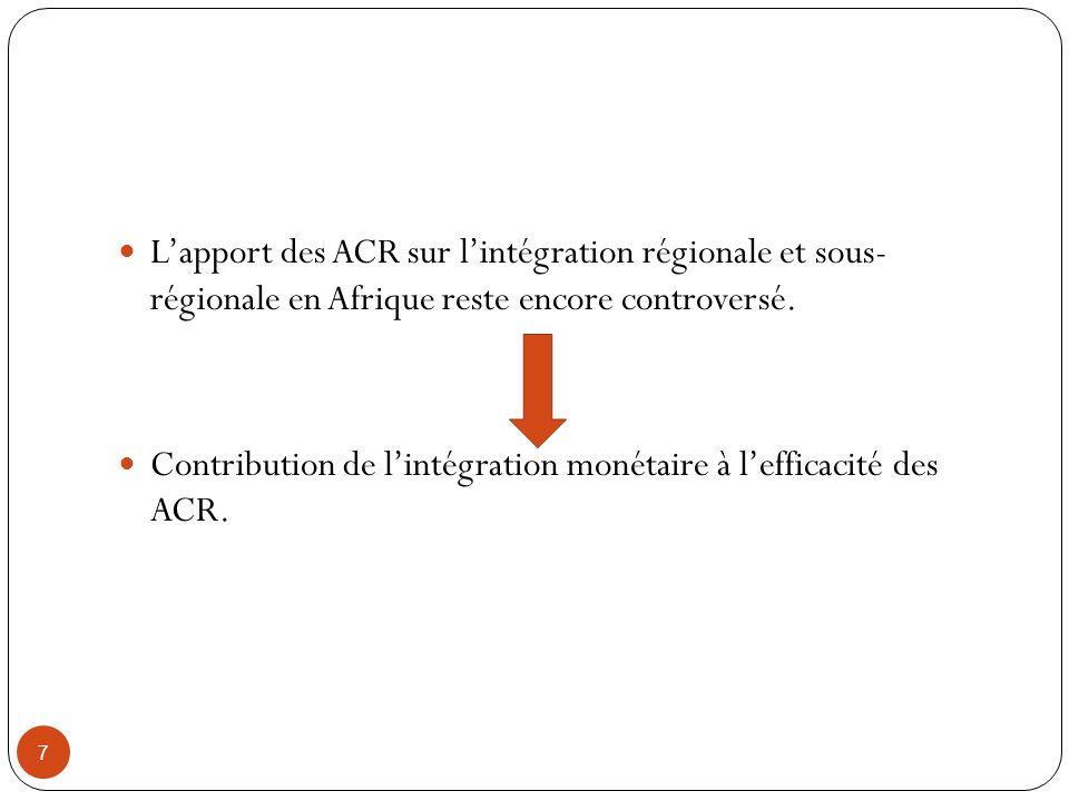 Contribution de l'intégration monétaire à l'efficacité des ACR.