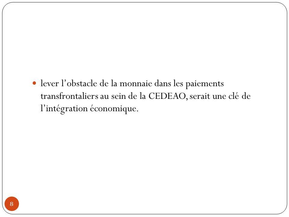 lever l'obstacle de la monnaie dans les paiements transfrontaliers au sein de la CEDEAO, serait une clé de l'intégration économique.