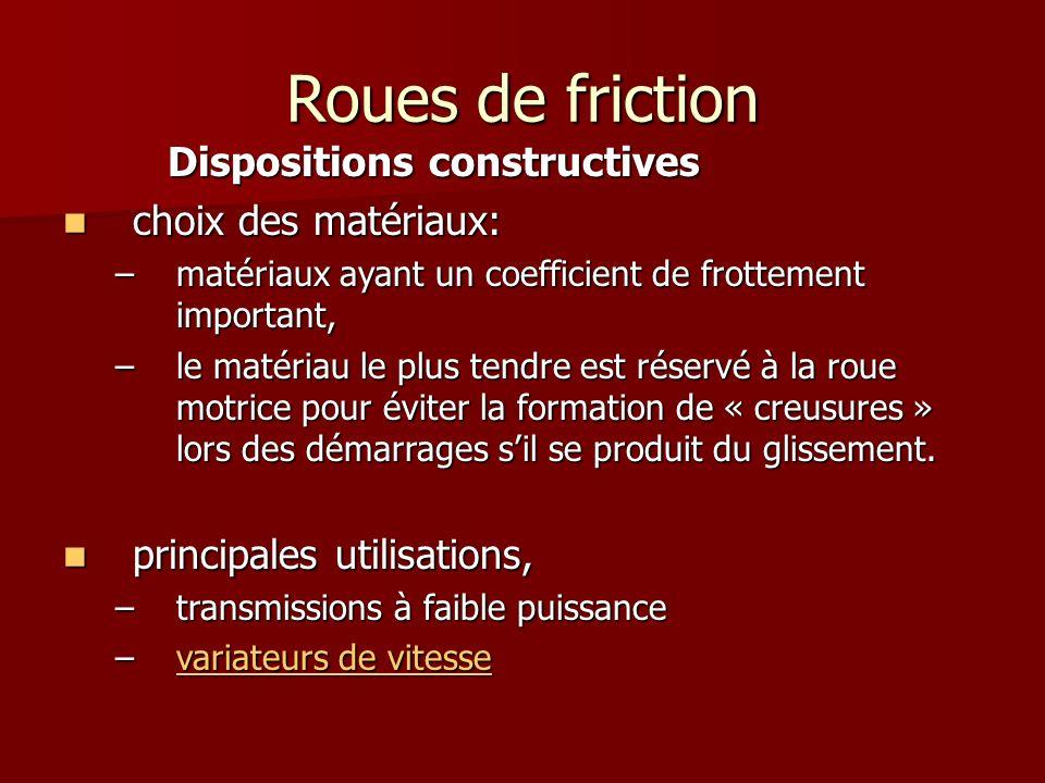 Roues de friction Dispositions constructives choix des matériaux: