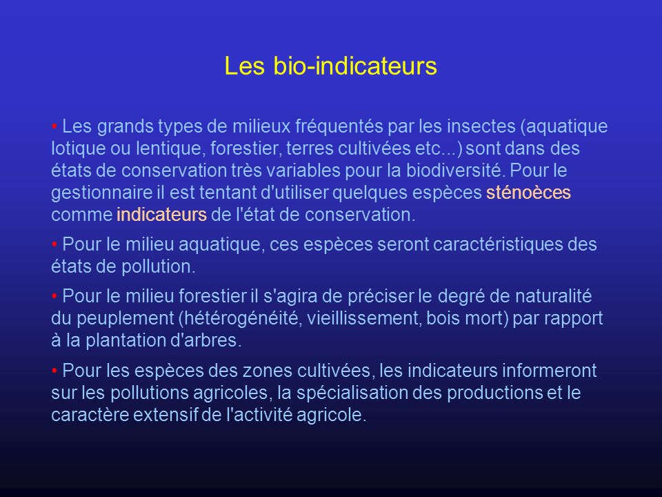 Les bio-indicateurs