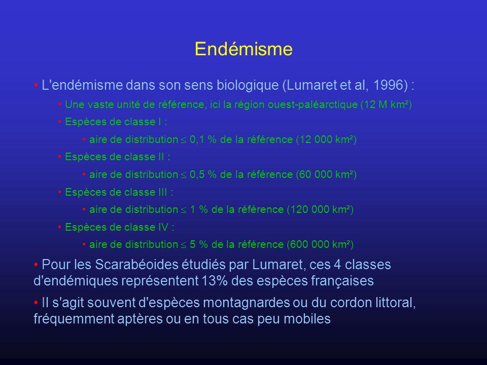 Endémisme L endémisme dans son sens biologique (Lumaret et al, 1996) :