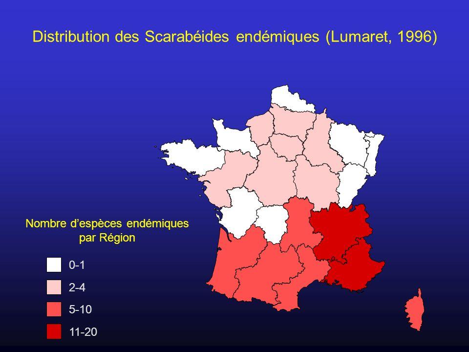 Distribution des Scarabéides endémiques (Lumaret, 1996)