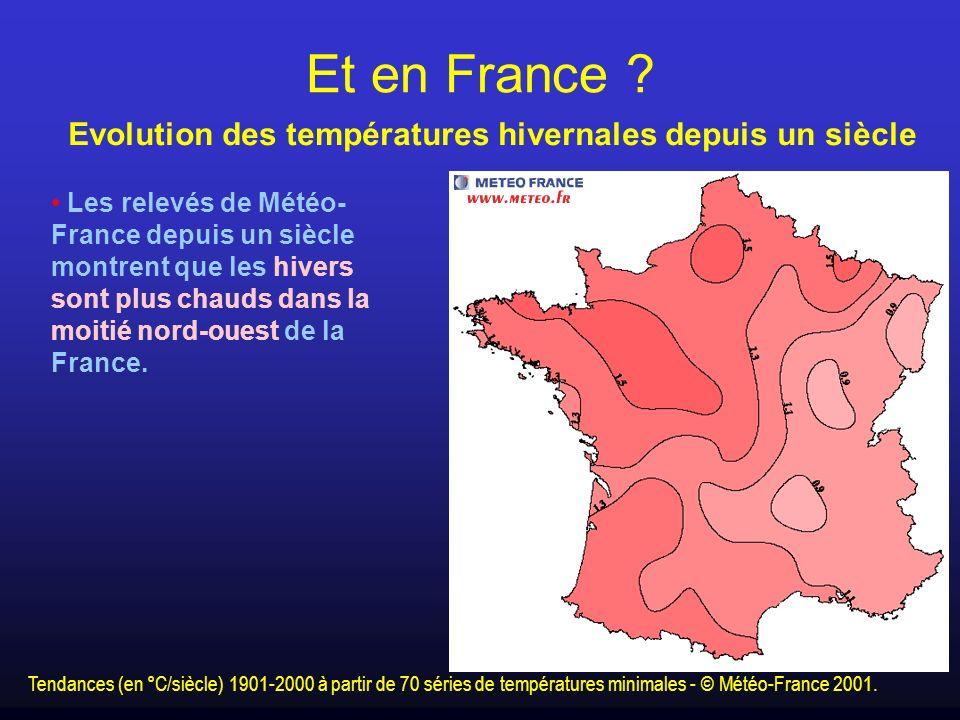 Et en France Evolution des températures hivernales depuis un siècle