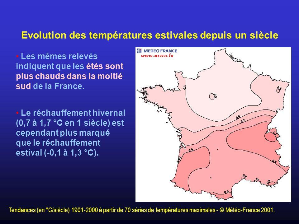 Evolution des températures estivales depuis un siècle