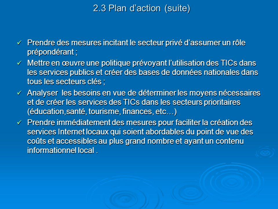 2.3 Plan d'action (suite) Prendre des mesures incitant le secteur privé d'assumer un rôle prépondérant ;