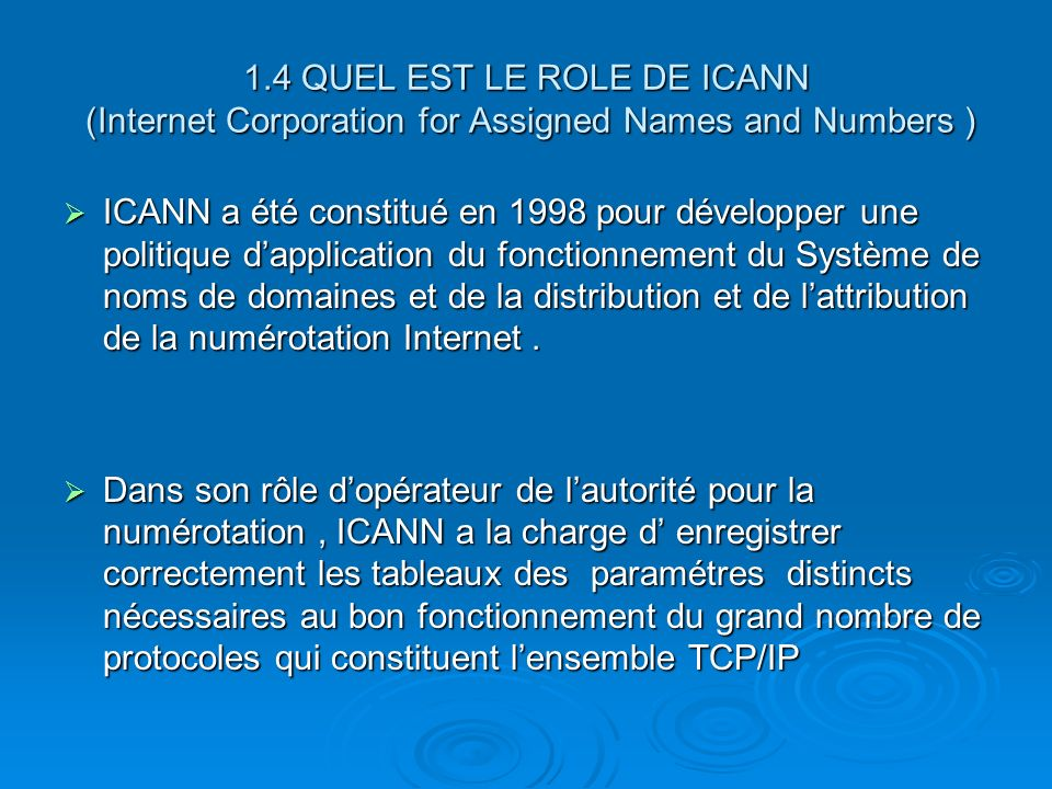 1.4 QUEL EST LE ROLE DE ICANN (Internet Corporation for Assigned Names and Numbers )