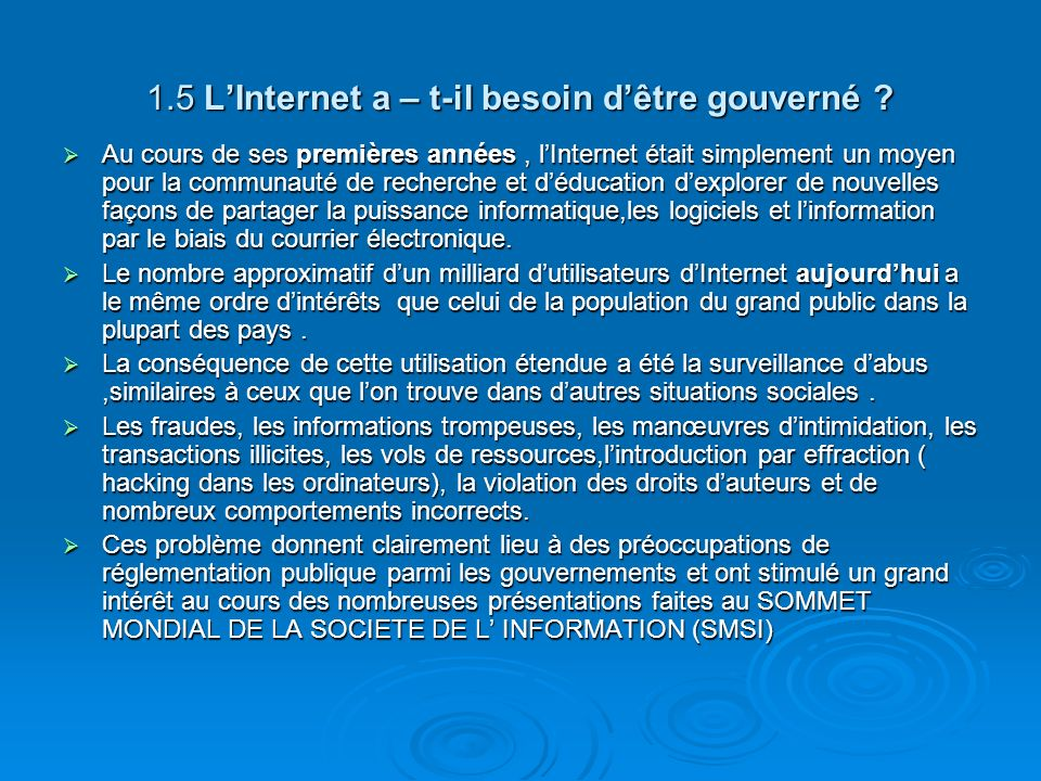 1.5 L'Internet a – t-il besoin d'être gouverné