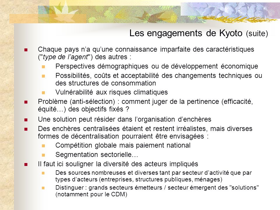 Les engagements de Kyoto (suite)