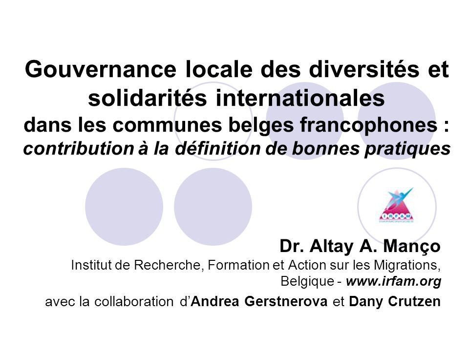 Gouvernance locale des diversités et solidarités internationales dans les communes belges francophones : contribution à la définition de bonnes pratiques