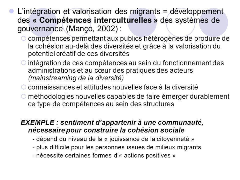 L'intégration et valorisation des migrants = développement des « Compétences interculturelles » des systèmes de gouvernance (Manço, 2002) :