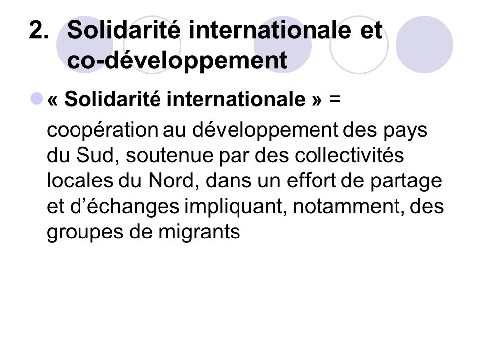 Solidarité internationale et co-développement