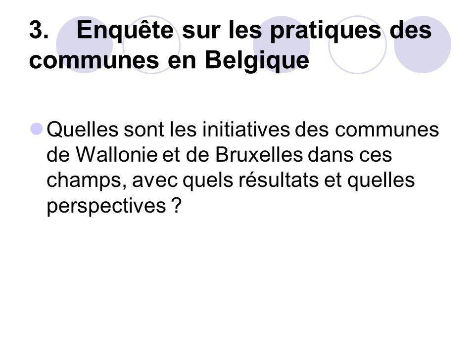 3. Enquête sur les pratiques des communes en Belgique