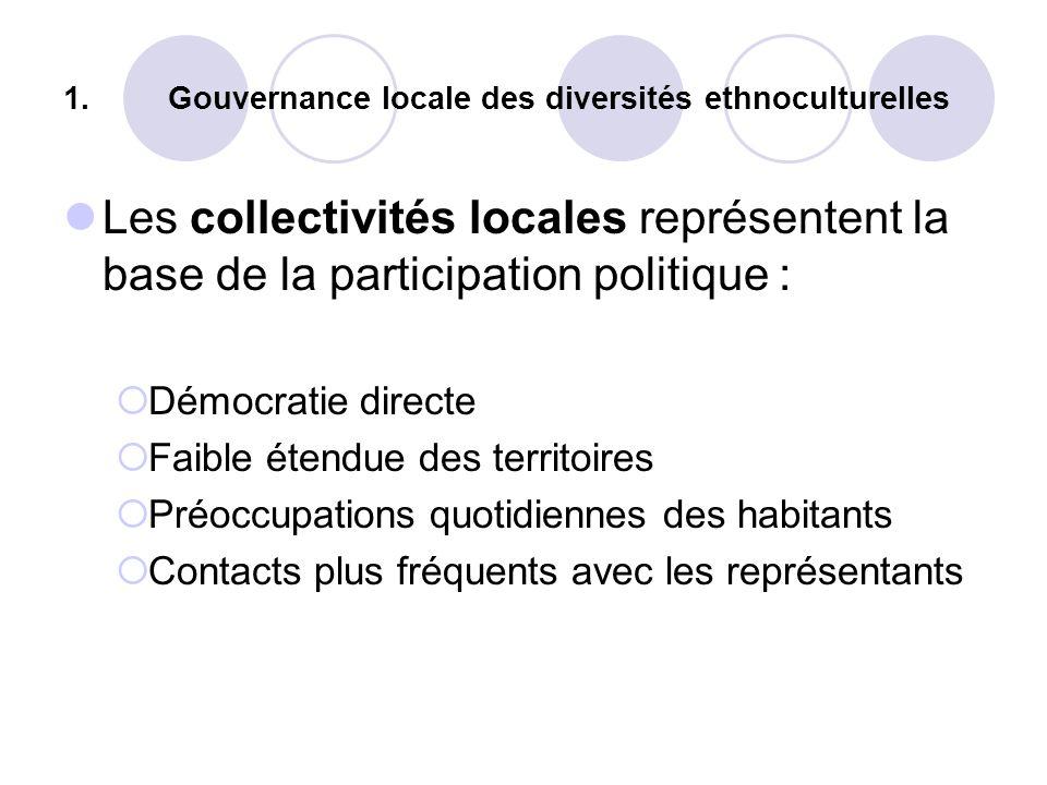 1. Gouvernance locale des diversités ethnoculturelles