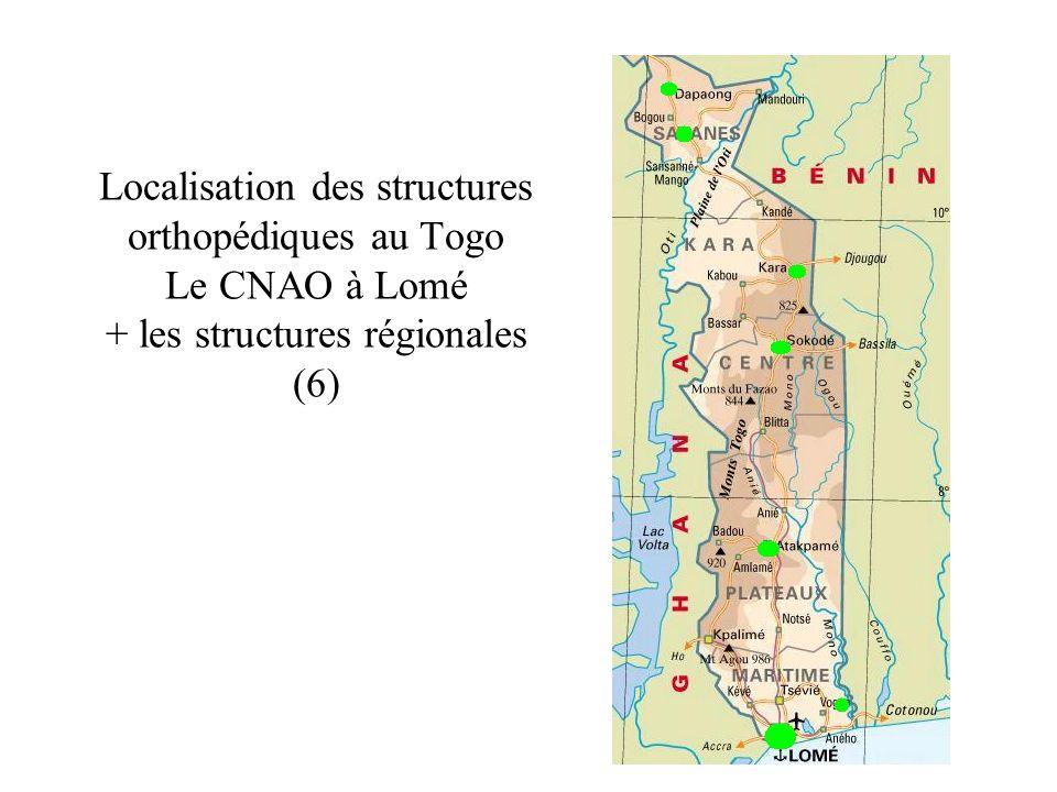 Localisation des structures orthopédiques au Togo Le CNAO à Lomé + les structures régionales (6)