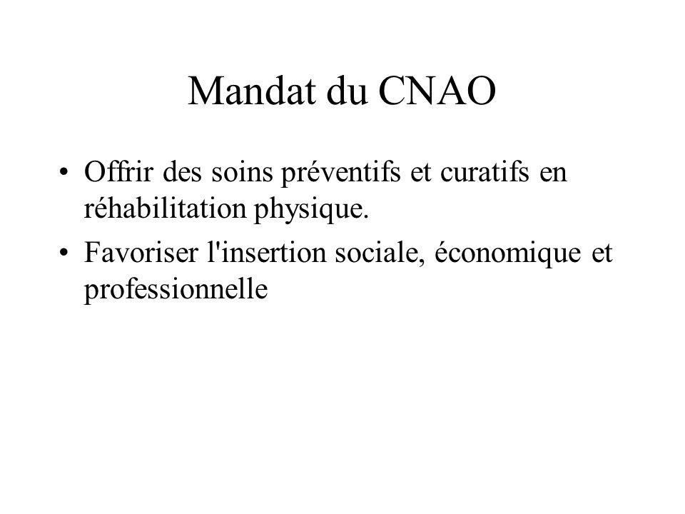 Mandat du CNAO Offrir des soins préventifs et curatifs en réhabilitation physique.