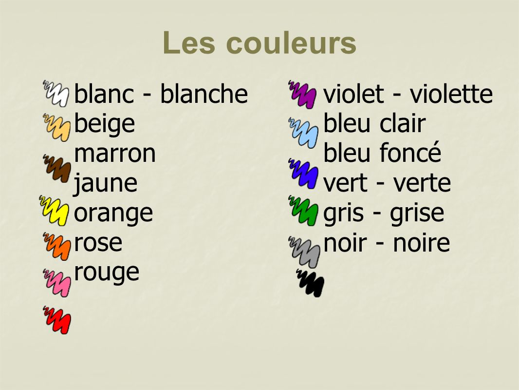 blanc - blanche beige marron jaune orange rose rouge