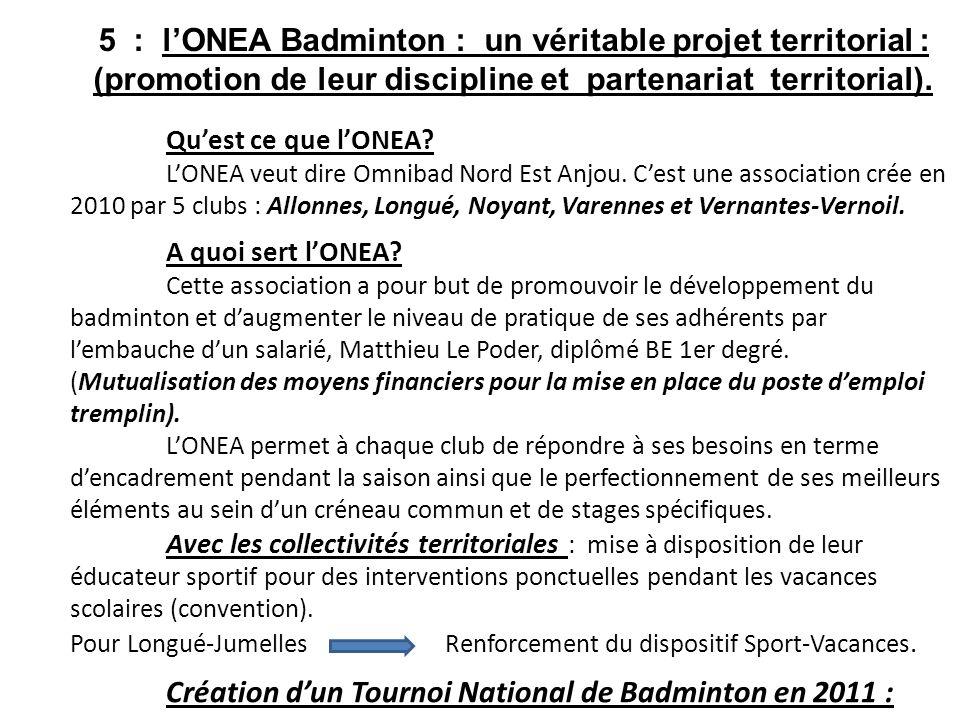 5 : l'ONEA Badminton : un véritable projet territorial : (promotion de leur discipline et partenariat territorial).