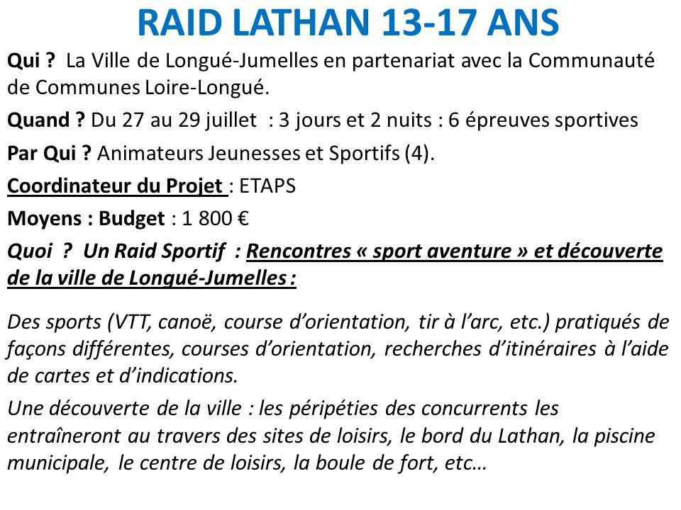 RAID LATHAN 13-17 ANS Qui La Ville de Longué-Jumelles en partenariat avec la Communauté de Communes Loire-Longué.