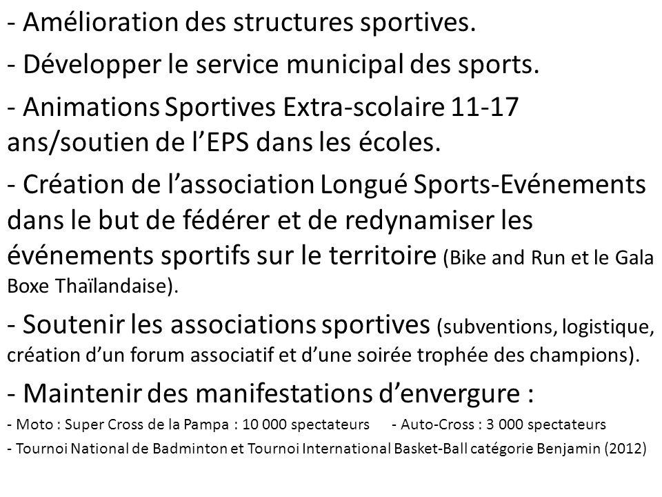 Amélioration des structures sportives.