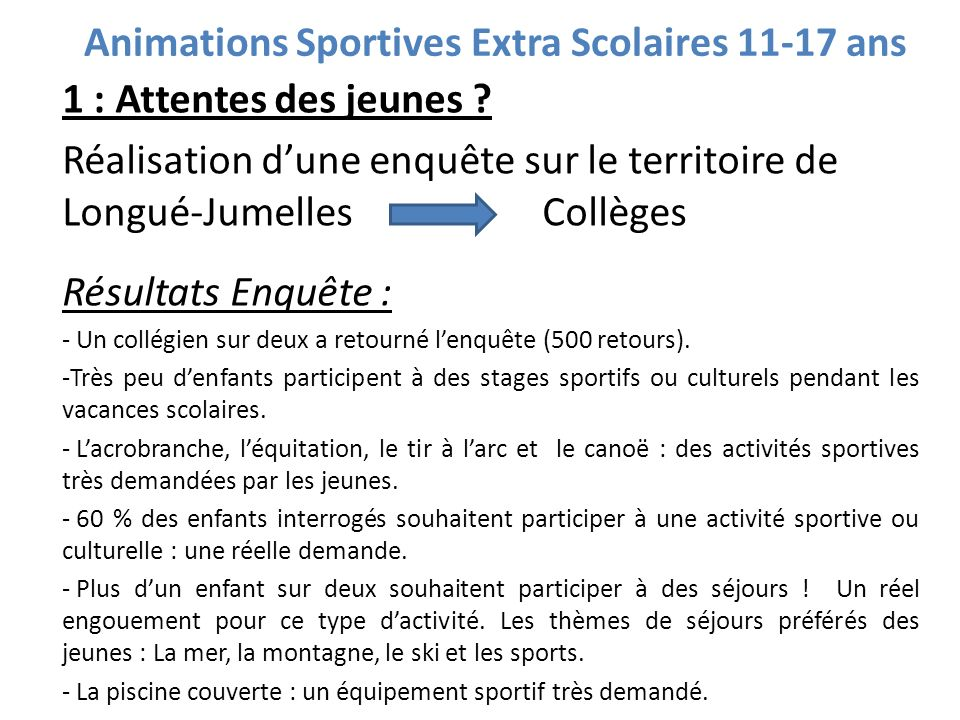 Animations Sportives Extra Scolaires 11-17 ans
