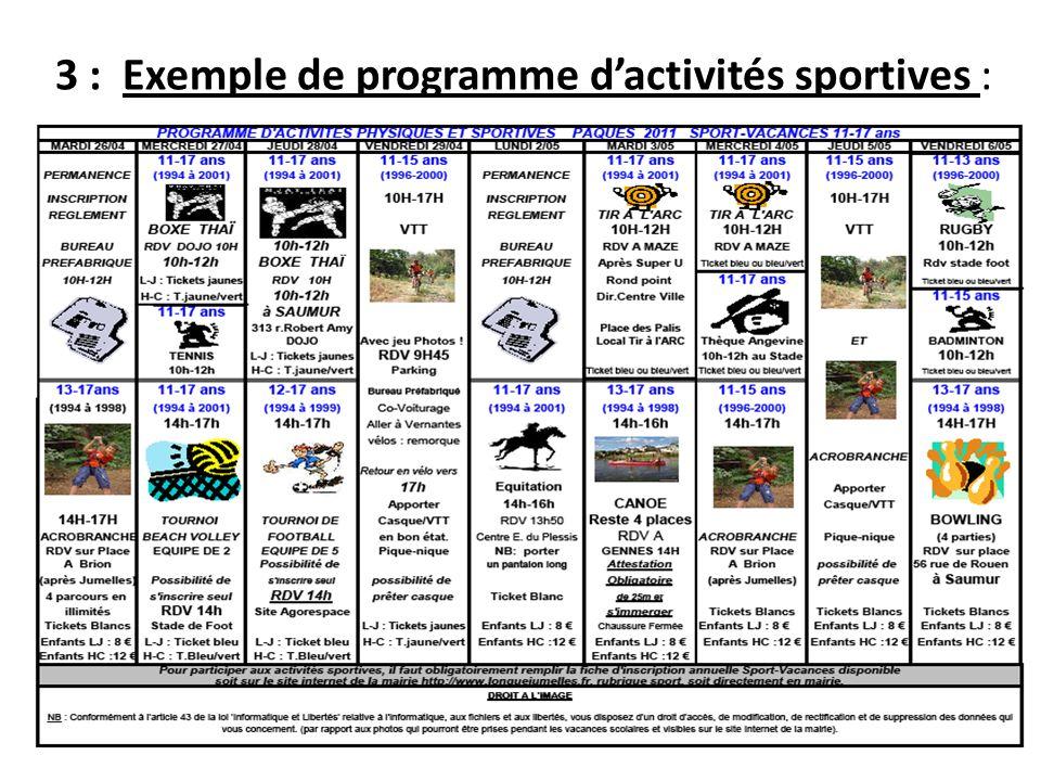 3 : Exemple de programme d'activités sportives :