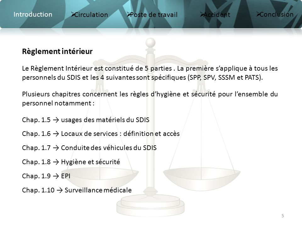 Accueil s curit des agents du sdis ppt t l charger for Definition du reglement interieur