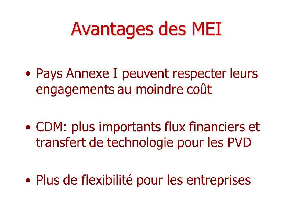 Avantages des MEI Pays Annexe I peuvent respecter leurs engagements au moindre coût.
