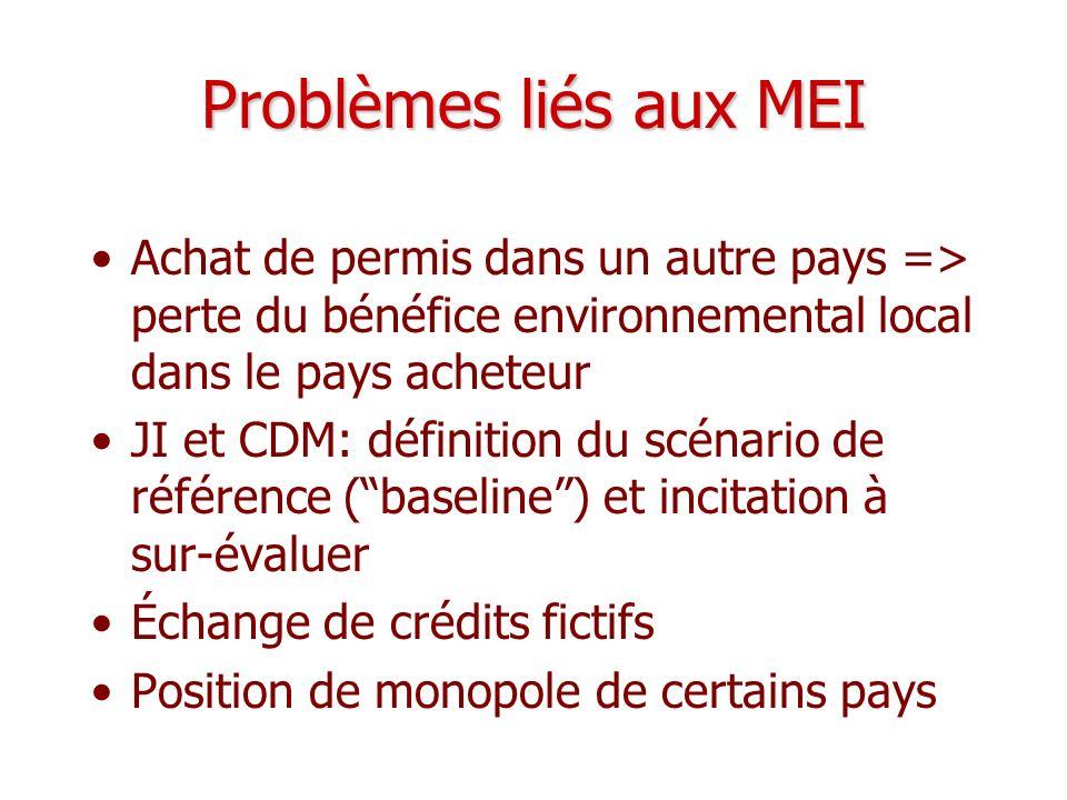 Problèmes liés aux MEI Achat de permis dans un autre pays => perte du bénéfice environnemental local dans le pays acheteur.