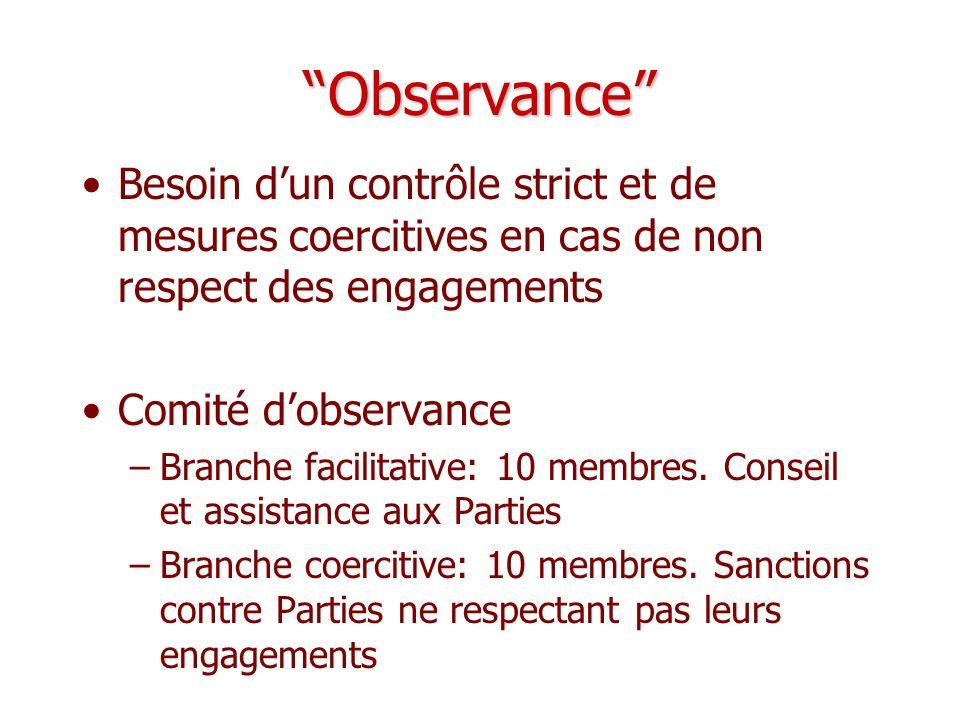 Observance Besoin d'un contrôle strict et de mesures coercitives en cas de non respect des engagements.